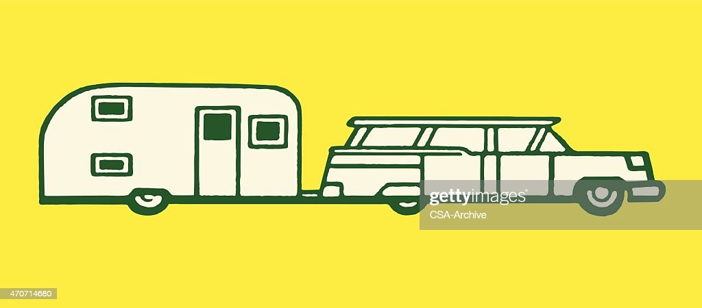 Station Wagon Towing An Airstream Trailer stock illustration
