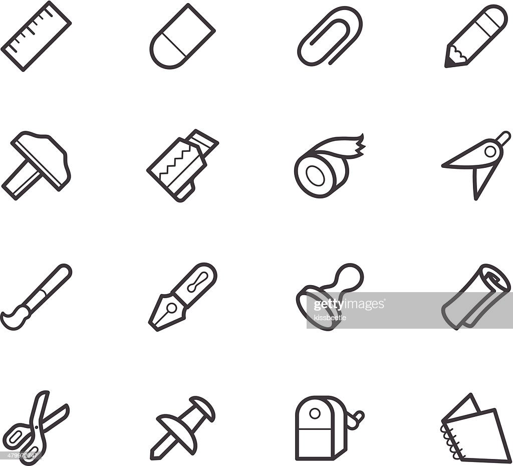 stationaly black vector icon set on white background