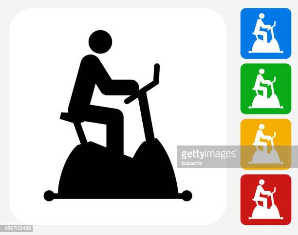 Stationary Bike Workout Icon Flat Graphic Design
