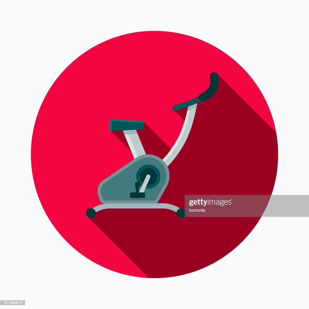 Stationary Cycle Flat Design Fitness & Exercise Icon : stock illustration