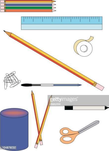 stationery 01 (vector) - desk organizer stock illustrations, clip art, cartoons, & icons