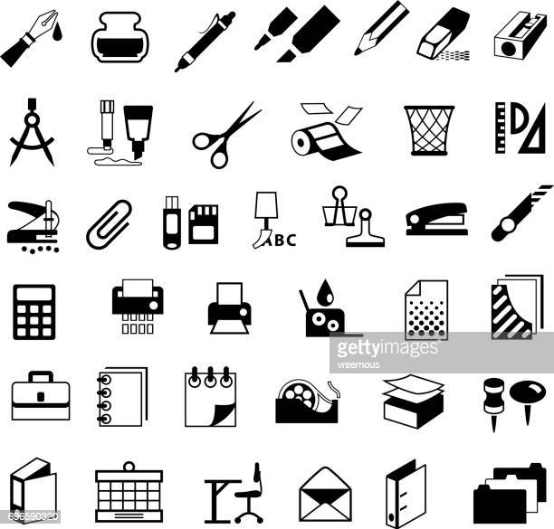Stationery and Office Supplies Black Icons