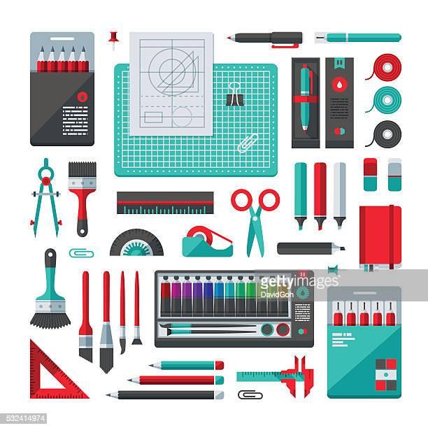 stationery & art supplies set - protractor stock illustrations, clip art, cartoons, & icons