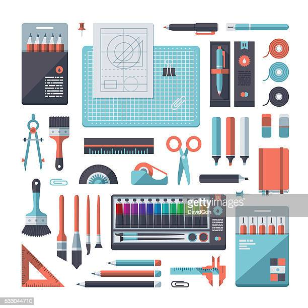 stationery & art supplies set - work tool stock illustrations