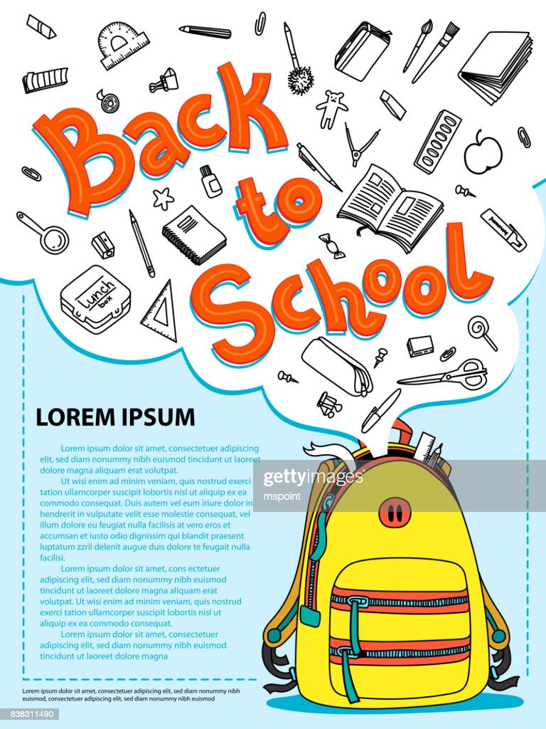 Stationery collection. Outline style. Back to school thin line vector doodle illustration template. Sketchy vector concepts with stationery for graphic design, web banner and printed materials. Back to school. Writing materials