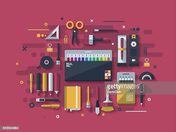 ilustrações, clipart, desenhos animados e ícones de artigos de papelaria tv conceito de projeto - elemento de desenho