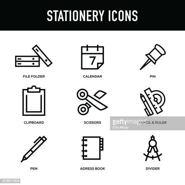 stationery icon set - thick line series - thick stock illustrations