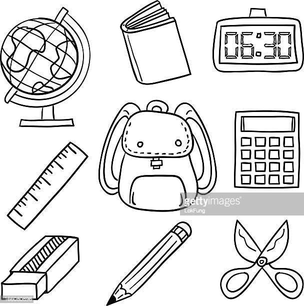 stationery illustration in black and white - ruler stock illustrations