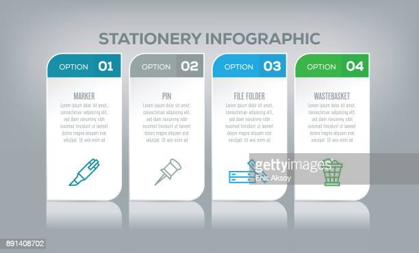 stationery infographic - binder clip stock illustrations
