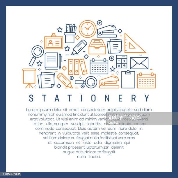 stationery related - colorful line icons, arranged in circle - id card template stock illustrations