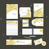 Stationery template design set with arrow technology on background.