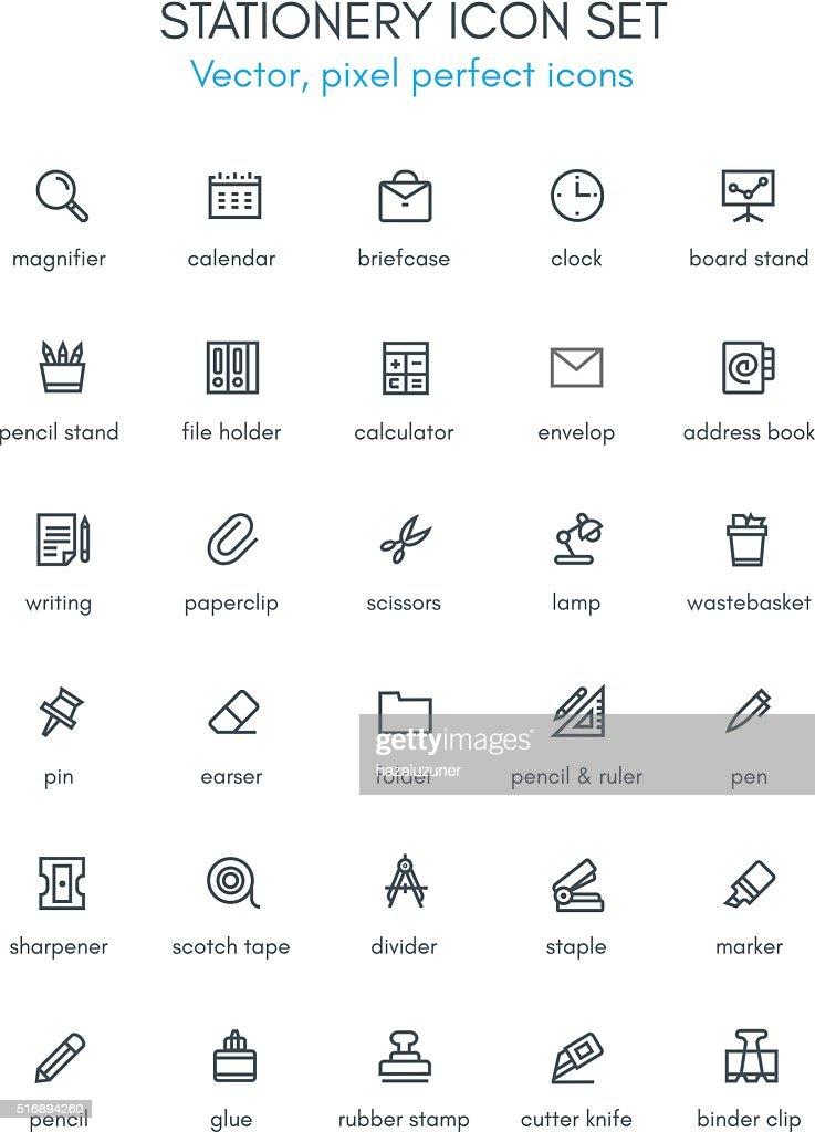 Stationery theme line icon set.