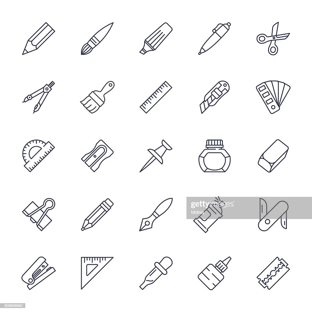 Stationery tools icon set thin line style