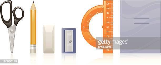 stationery - protractor stock illustrations, clip art, cartoons, & icons