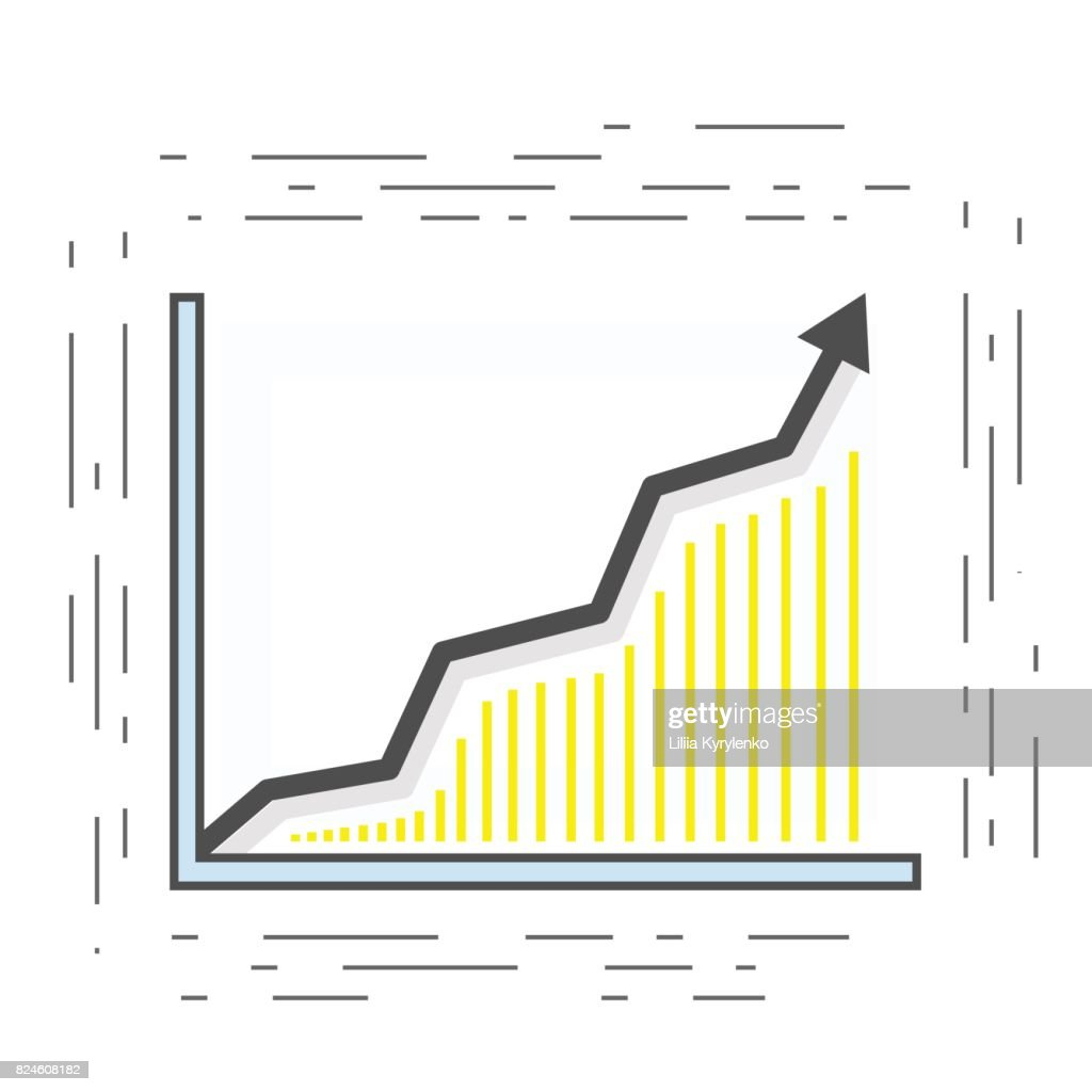 Statistical chart. The arrow rises and points upwards. Modern linear icon. Vektor