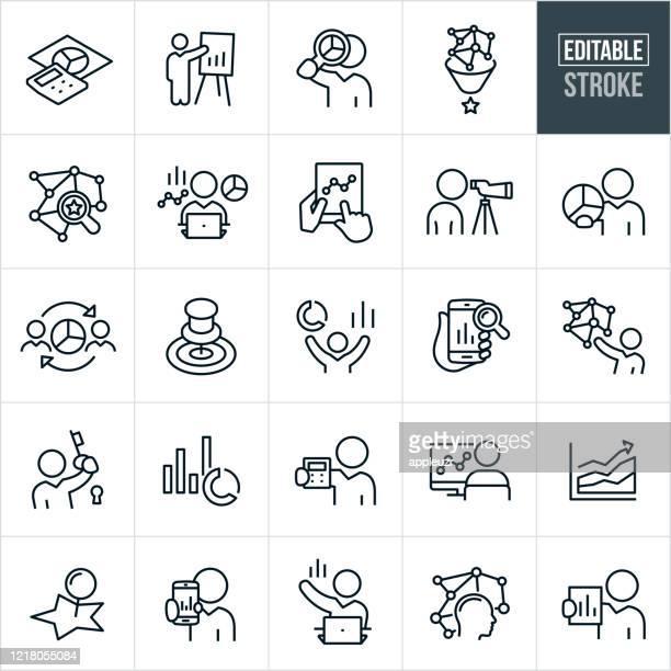 illustrazioni stock, clip art, cartoni animati e icone di tendenza di icone statistiche a linea sottile - tratto modificabile - previsione