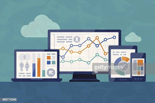 statistics and analysis - business strategy stock illustrations