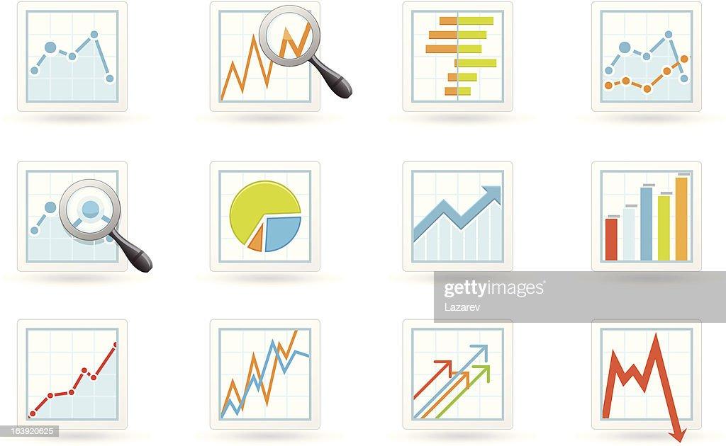 Statistics and analytics icons