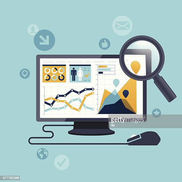 statistics computer - searching stock illustrations