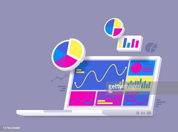 statistiken datenanalyse laptop - bildschirmpräsentation stock-grafiken, -clipart, -cartoons und -symbole