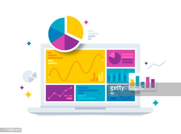 stockillustraties, clipart, cartoons en iconen met statistieken gegevens en analyse software laptop applicatie - onderzoek