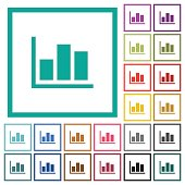 Statistics flat color icons with quadrant frames