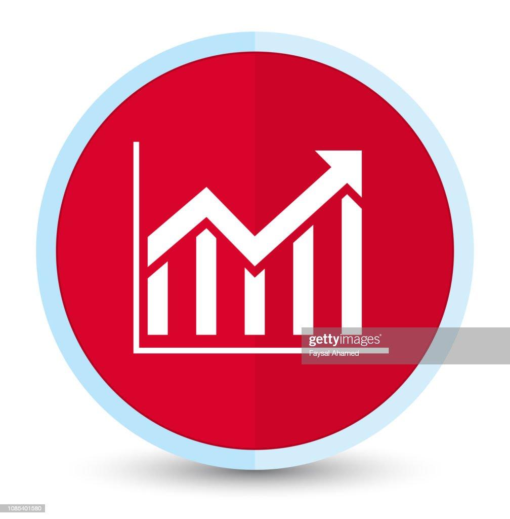 Statistics icon flat prime red round button