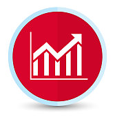 Statistics icon flat prime red round button