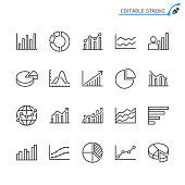 Statistics line icons. Editable stroke. Pixel perfect.