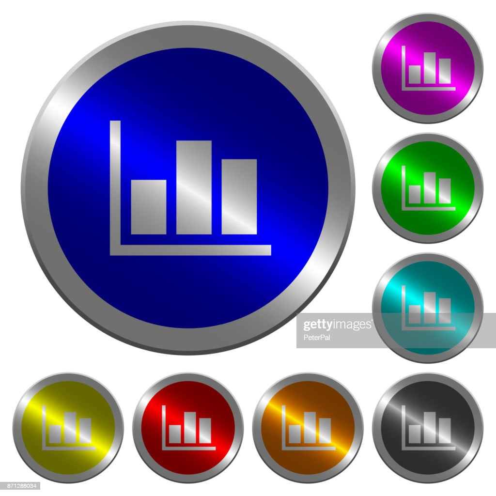 Statistics luminous coin-like round color buttons