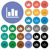 Statistics round flat multi colored icons