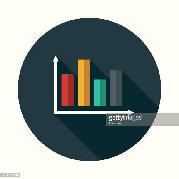 social media statistiken flache design-ikone mit seite schatten - balkendiagramm stock-grafiken, -clipart, -cartoons und -symbole