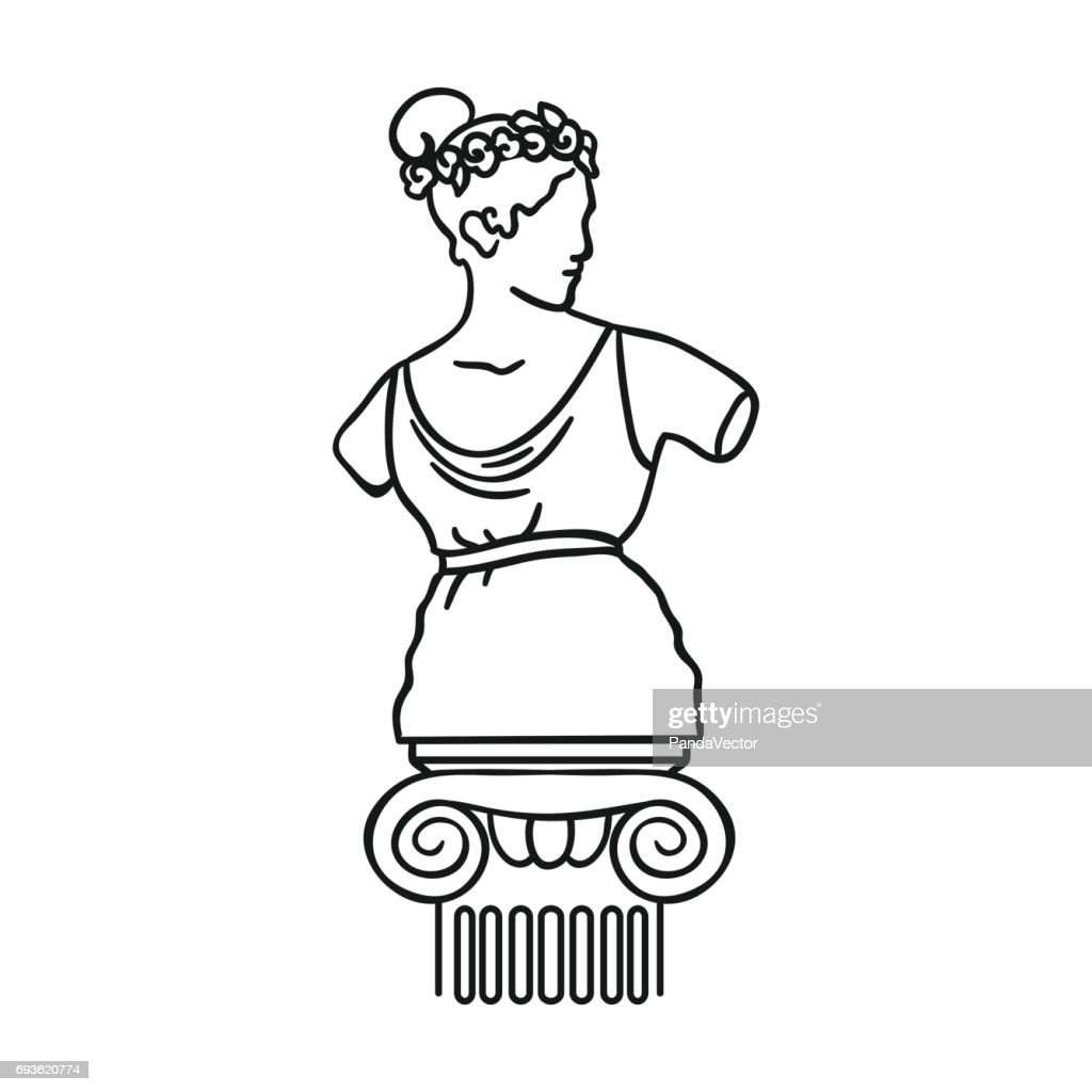 Statue icon in outline style isolated on white background. Museum symbol stock vector illustration.