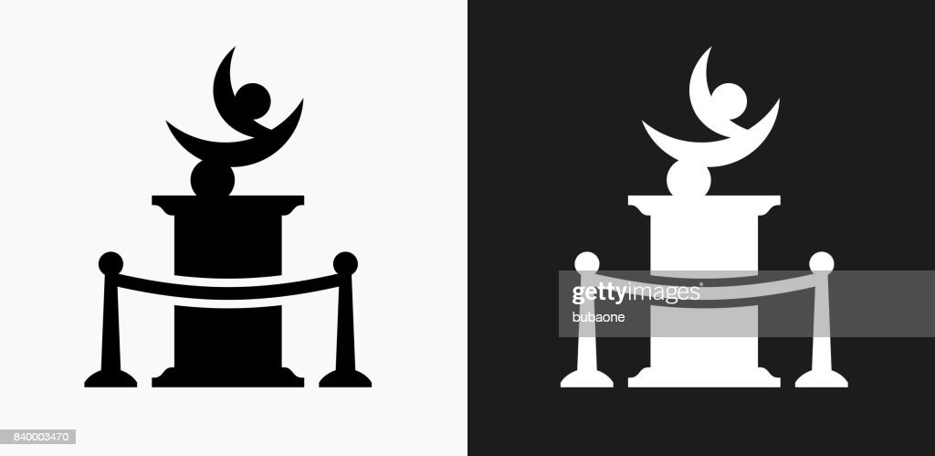 Statue Icon on Black and White Vector Backgrounds