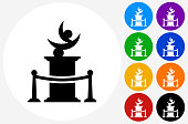 Statue Icon on Flat Color Circle Buttons