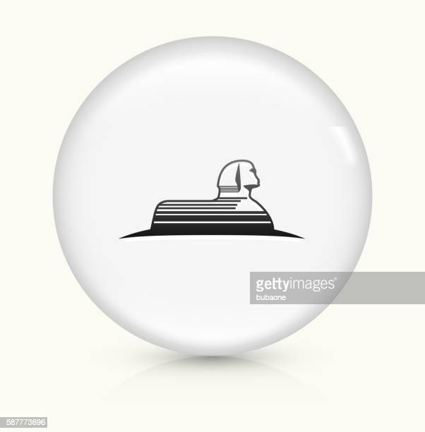 statue of giza icon on white round vector button - the sphinx stock illustrations, clip art, cartoons, & icons