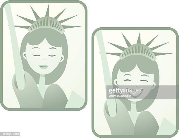 statue of liberty cartoon in a retro style - ellis island stock illustrations, clip art, cartoons, & icons