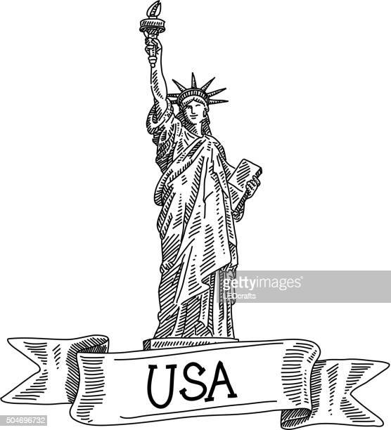 statue of liberty, drawing - liberty island stock illustrations, clip art, cartoons, & icons