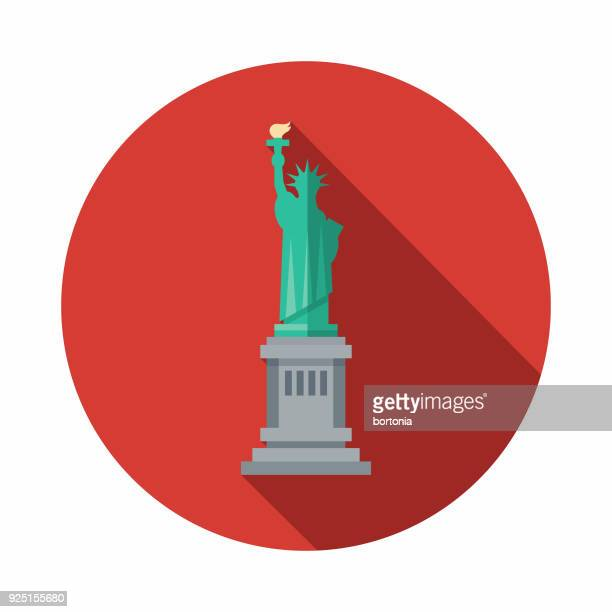 statue of liberty flat design usa icon with side shadow - statue of liberty stock illustrations