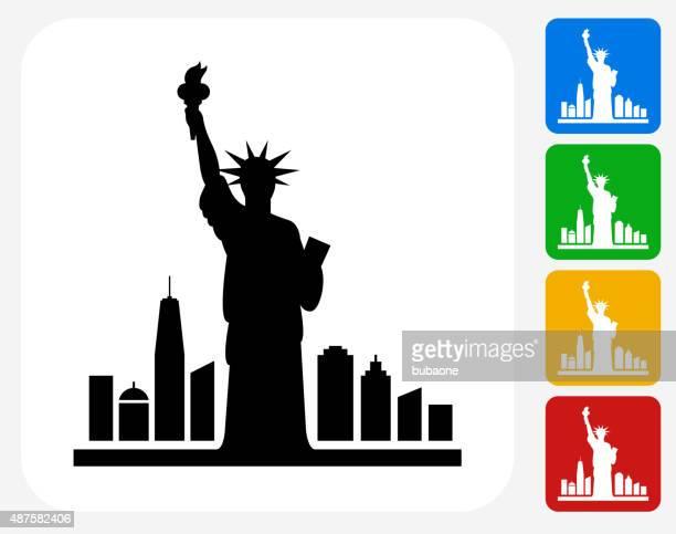 ilustraciones, imágenes clip art, dibujos animados e iconos de stock de estatua de la libertad de iconos planos de diseño gráfico - estatua de la libertad