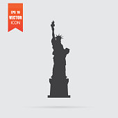 Statue of Liberty icon in flat style isolated on grey background.
