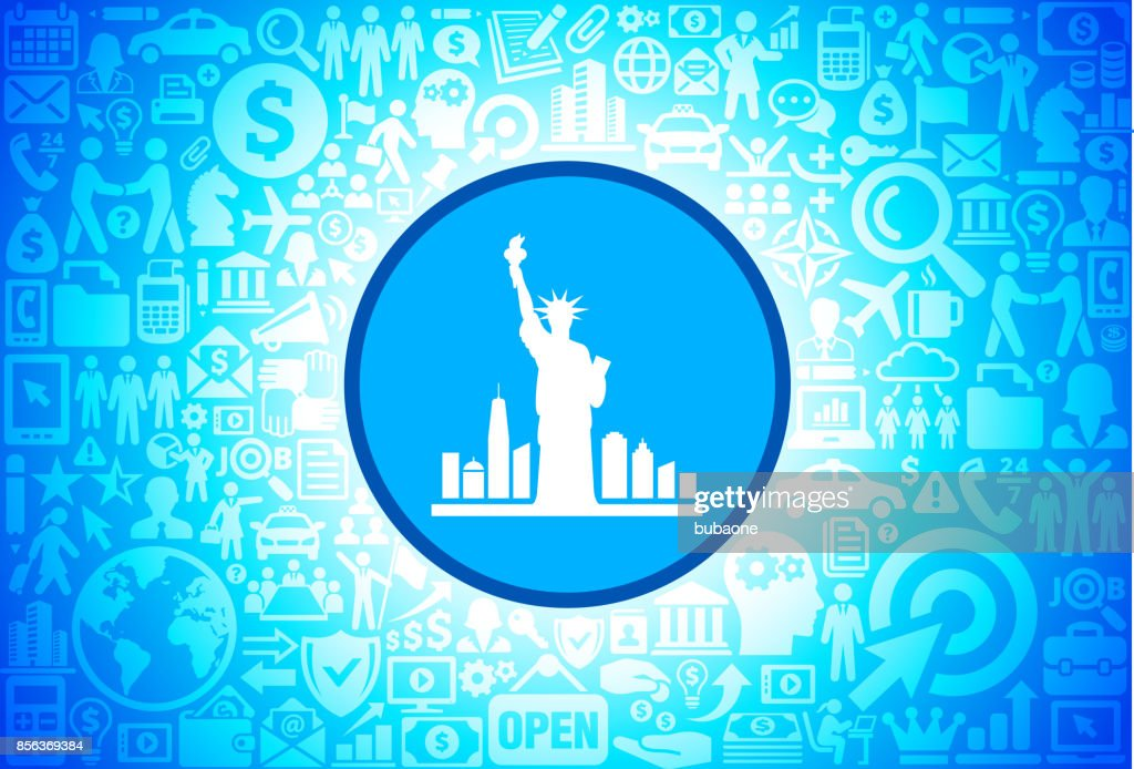 Statue of Liberty  Icon on Business and Finance Vector Background