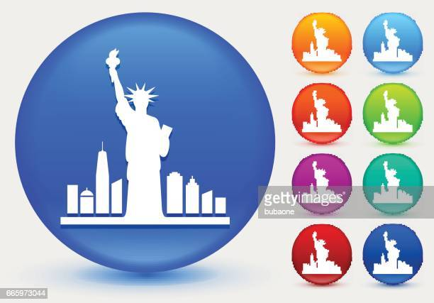 statue of liberty icon on shiny color circle buttons - liberty island stock illustrations, clip art, cartoons, & icons
