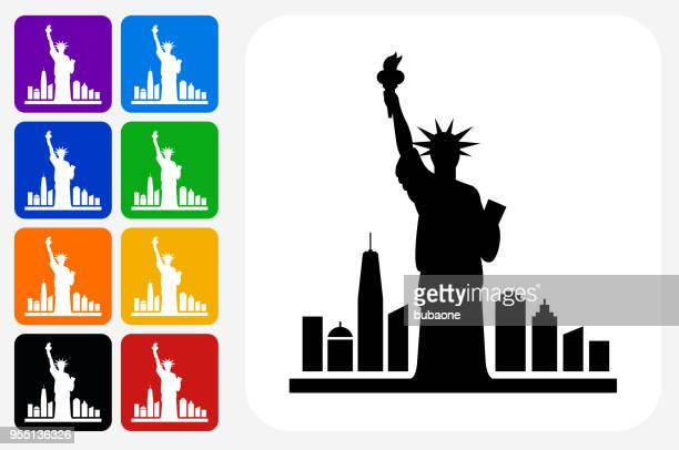 statue of liberty icon square button set - statue of liberty new york city stock illustrations, clip art, cartoons, & icons