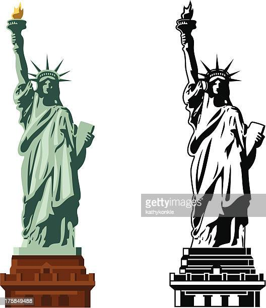 statue of liberty in color and b&w - statue of liberty stock illustrations