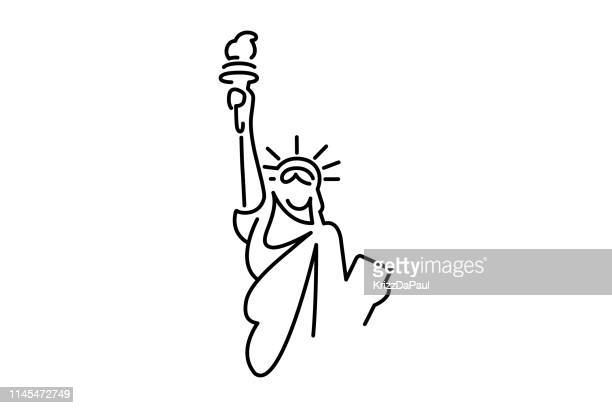 statue of liberty line art - statue of liberty stock illustrations