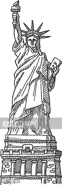 ilustraciones, imágenes clip art, dibujos animados e iconos de stock de la estatua de la libertad nueva york dibujo - estatua de la libertad