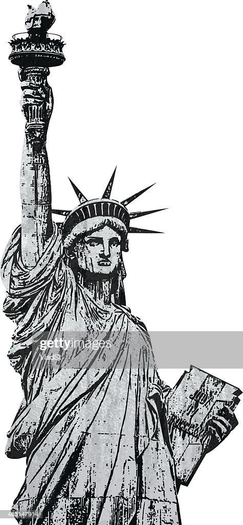 Statue of Liberty New York grunge textured stamp