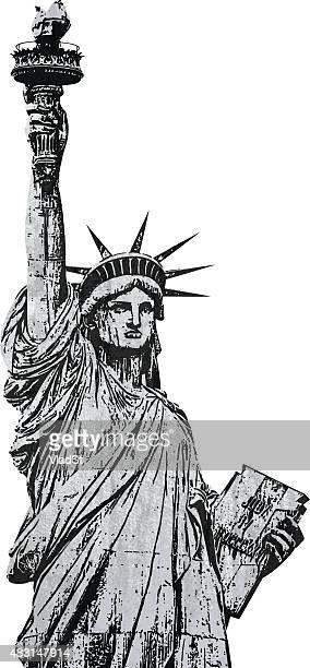 ilustraciones, imágenes clip art, dibujos animados e iconos de stock de estatua de la libertad nueva york grunge con textura de la firma - estatuadelalibertad