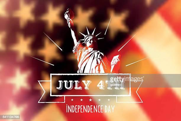 ilustraciones, imágenes clip art, dibujos animados e iconos de stock de estatua de la libertad con nosotros bandera vintage borroso - estatua de la libertad